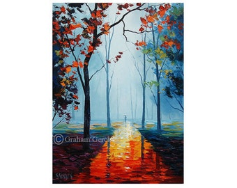 palette knife Painting autumn trees Painting landscape Trees Impressionist Art decor by Graham gercken