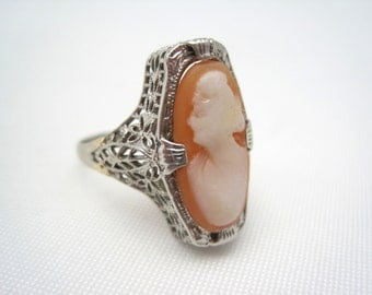 Antique Cameo Ring - 14kt White Gold - Art Deco Jewelry