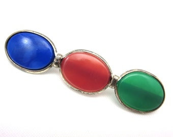Edwardian Art Glass Brooch - Sterling Silver Blue Green and Red