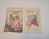 Vintage Used  Floral  Embossed Post Cards