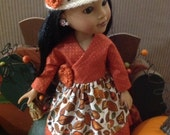 Fall Mushroom Dress for Corolle Les Cheries, Groovy Girl or Hearts for Hearts Girls