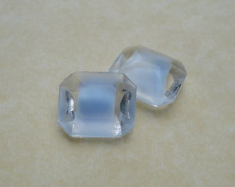 Vintage 12x10mm Clear & Light Blue Givre Unfoiled Pointed Back Octagon Glass Jewels (6 pieces)
