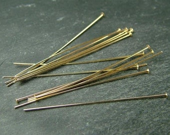 """Gold Filled Head Pin ~ 26 gauge ~ 1.5"""" ~ Pack of 10 (CG1274a)"""