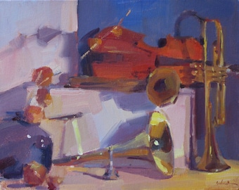 "Painting still life ""The Red Violin"" by Oregon artist Sarah Sedwick 8x10 inches"