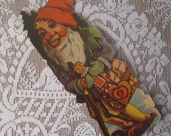 Vintage Germany Scrap 1930s Jumbo Christmas Gnome Lithograph Die Cut Paper Scrap 9 Inch Tall