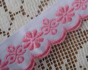 Czech Republic Woven Pink Embroidered Cotton Trim 20mm 2 Yards  Folk Costume Trim