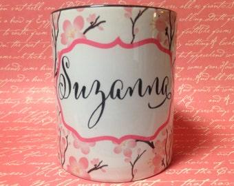Cherry Blossoms Personalized Name coffee mug