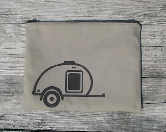 Moss large canvas modern screen printed teardrop trailer zipper pouch - teardrop camper -glamping - caravan - camping gear - travel trailer