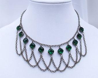 Emerald Green Bib necklace