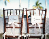 1 Pair of Prop Chair Signs for Bride, Groom, Mr, Mrs, His Forever Her Always, Better Together, Just Married - The Bistro Collection