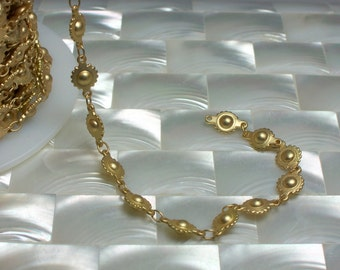 1 Foot Closed Link Chain Ball and Cog Chain Steam punk Gold plated Closed Link Matte Finish Nickel Free Brass Jewelry Jewellery Supplies
