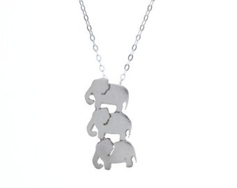 3 Elephant Sterling Silver Necklace