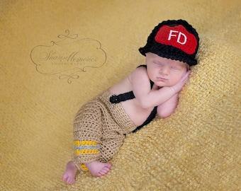 Custom Crochet Little Firefighter Set with Pants