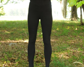 HEMP and ORGANIC Cotton Leggings, medium weight stretchy fabric with texture, warm and soft