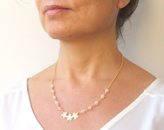 Floral Necklace Flower Necklace Love Stone Gold Sakura Cherry Blossom Necklace With Pink Quartz