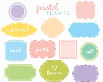 Pastel frames clipart - clip art, decorative vintage style vignette digital frames for personal and commercial use, invitations scrapbooking