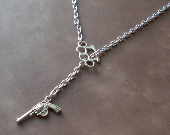 Brass Knuckles & Revolver Silver Tone Duster Lariat Necklace