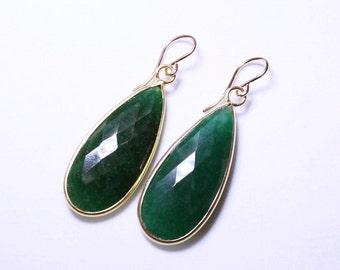 Green Emerald Earrings Genuine Emerald Earrings Real Emerald Jewlery Precious Emerald Earrings 22k Gold  May Birthstone BZ-E-139-Em