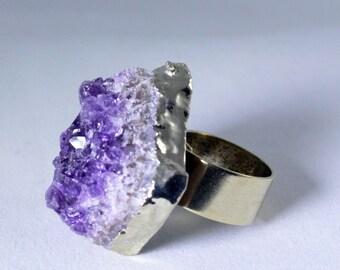 Chunky Amethyst Geode Druzy Raw Stone Ring February Birthstone Amethyst Jewelry Purple Amethyst Crystal Ring Adjustable Ring AM-R-102-022g
