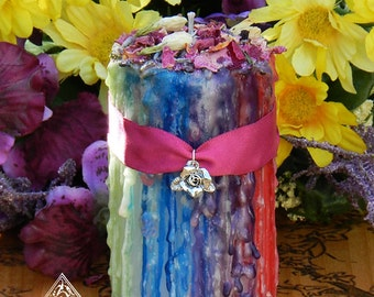 Ribbons of Beltane Alchemy Candle 2x3 . Flora and Faeries . Flowers, Sandalwood, Musk, Moss, Sacred Fertility Rites, Nature Spirits