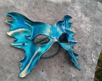 Leather Fairy mask in Teal