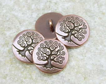 20 TierraCast Tree of Life Buttons - Antique Copper Button Findings (PF530)