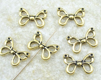6 TierraCast Butterfly Wing Beads - Antique Gold Beads Tierra Cast Wing (P6)