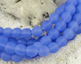 25 8mm Matte Sapphire Blue Beads - Seaglass Style Czech Glass Beads - Soft Blue Beachglass Beads