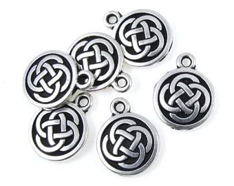 TierraCast CELTIC ROUND Drop - Antique Silver Charms - Celtic Charms -  Irish Knotwork Knot Work (P403)