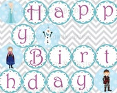 Instant Download DIY Printable Snow Princess Themed Happy Birthday Banner 4 inch circle DIGITAL PDF Banner