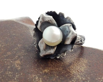 Pearl and Sterling Silver Flower Floral Ring Pearl Ring Sterling Ring Flower Ring