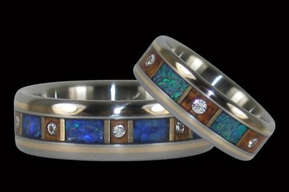 Opal and Diamond Titanium Wedding Ring Set by Hawaiititanium