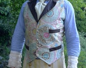 Cream and Easter Egg Pastel and Brown Pleather Steampunk Victorian Lapeled Gentlemen's Vest