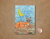 Cat with a Moon and Stars ACEO Original Watercolor Painting