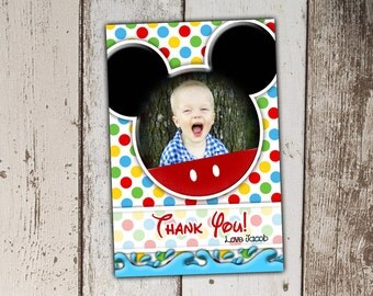 Mickey Mouse Thank You Cards with Photo - Swim Party
