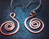 Artisan Created Copper Spiral Earrings with Sterling Silver French Hooks