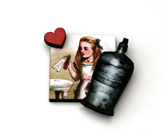 Alice in Wonderland Brooch,Drink Me Brooch, Tenniel Illustration, Altered Art, Mixed Media, Wood Jewelry