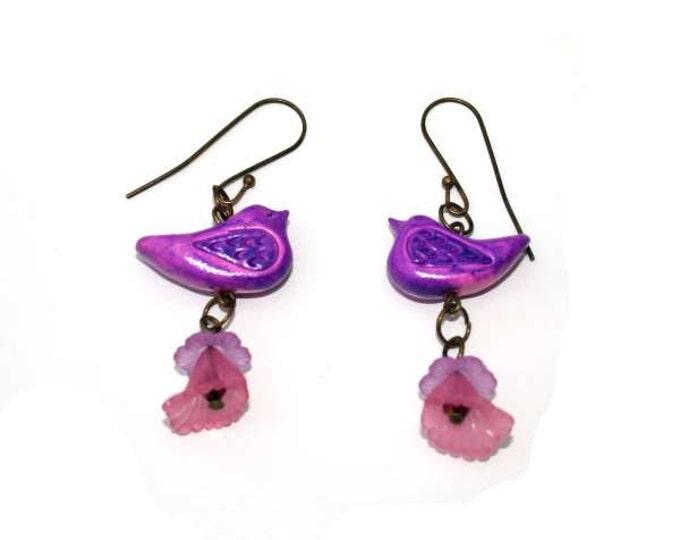 Bird Earrings, Artisan Bird and Flower Bead Earrings, Dangle Earrings