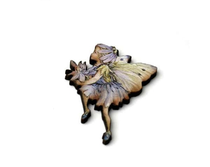 Lilac Fairy Brooch, Faerie Illustration Brooch, Pixie Jewelry, Wood Brooch, Wood Jewelry