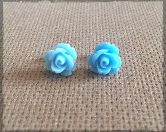 Sky Blue Rose Cabochon Stud Earrings