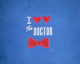 I <3 <3 The Doctor Red Bow Tie Embroidered Blue Canvas Tote Bag Red Heart TARDIS Companion BBC 11th