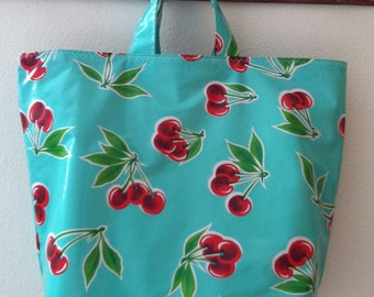 Beth's Retro Cherries Oilcloth Grocery Market Tote Bag