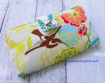 Handmade Long Wallet  BiFold Clutch- Vegan Wallet - Fresh Fusion humming bird