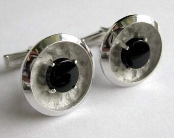 Men's Sterling Modernist Cufflinks - Silver and Black Minimalist Geometric Design Groom Groomsman