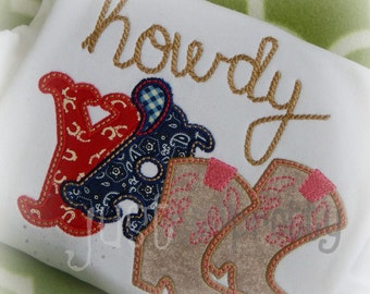Howdy Y'all Western Embroidery Applique Design