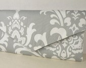 Envelope Clutch Storm Gray and White  OZBORNE Damask