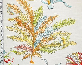 """Red coral fabric tropical ocean reef turtle fish interior home decorating material cotton 45"""""""