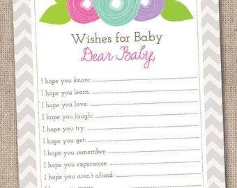 Printable Baby Wishes Card Colorful Flower Doodles and Chevron Stripes INSTANT DOWNLOAD PDF