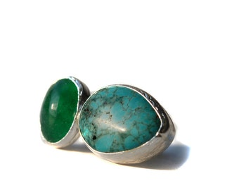 Turquoise Jade Silver Ring
