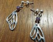 BUTTERFLY WING Earring: Sterling Silver / Swarovski Crystal / Posts
